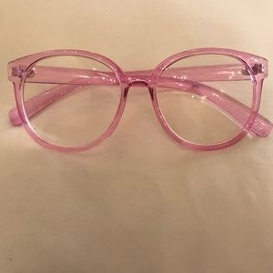Accessories - Pink framed clear lens sunglasses